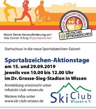 Sportabzeichen-Aktionstage am 15.09. und 29.09.2019